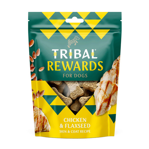 Chicken and Flaxseed flavour Tribal Rewards dog treats, showing the treats in their 100% recyclable packaging