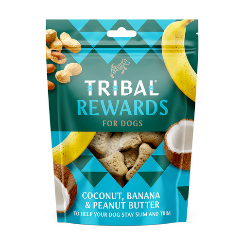 Tribal Rewards for Dogs in the flavour Coconut, Banana & Peanut Butter, showing packaging
