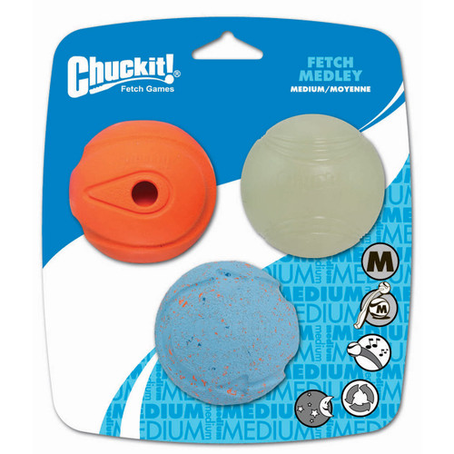Chcukit Fetch Medley Pack of 3 Dog Balls