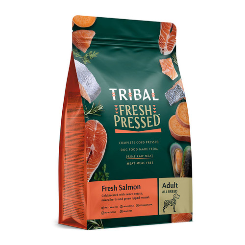Adult Cold Pressed Food by Tribal, in the flavour Salmon, showing the packaging