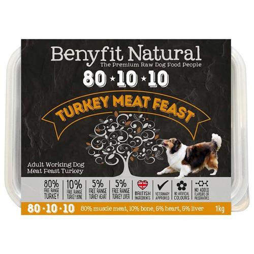Benyfit Natural RAW 80:10:10 Turkey Meat Feast dog food