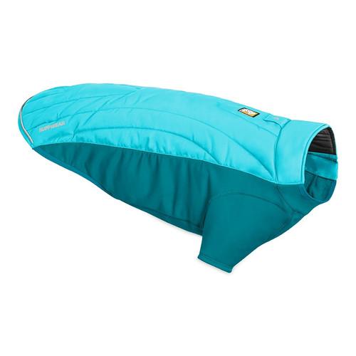 NEW Ruffwear Powder hound Dog Jacket. Shown in colour Blue Atoll