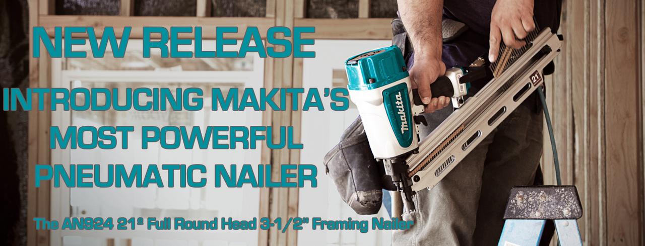 "Makita AN924 21º Full Round Head 3‑1/2"" Framing Nailer"
