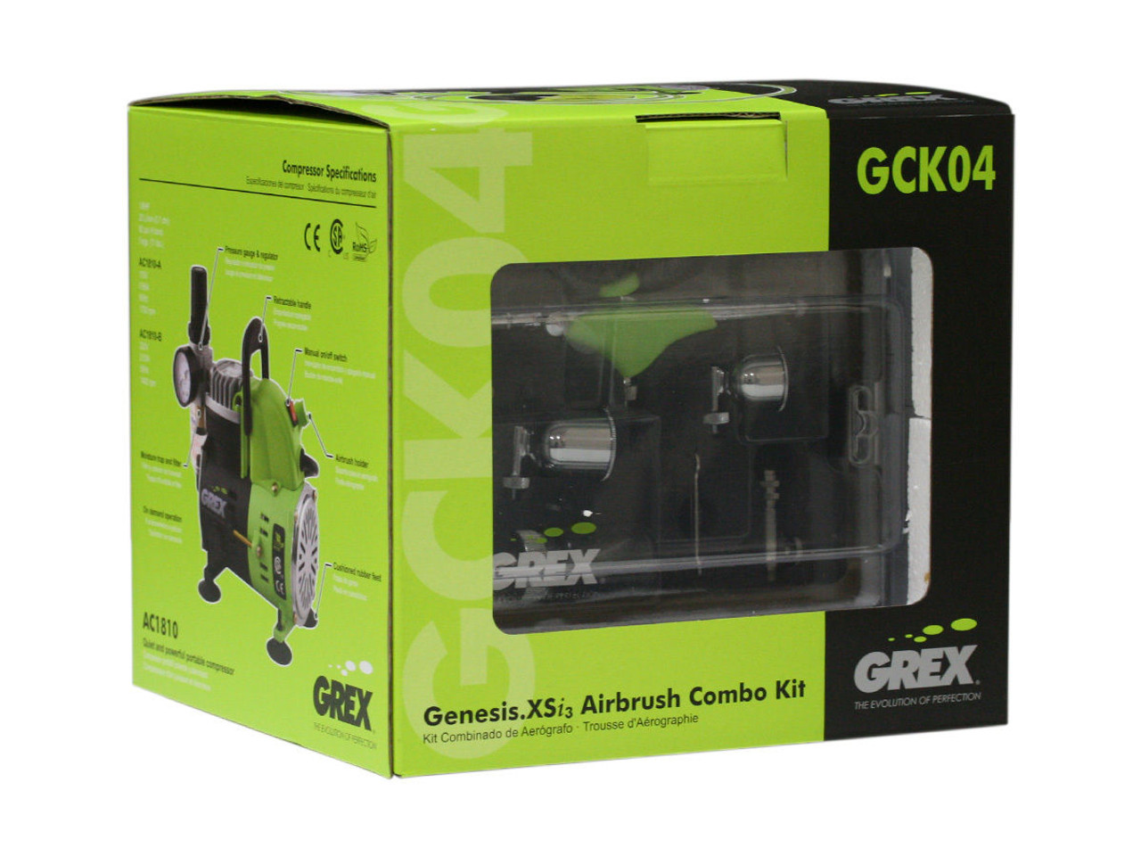 Grex GCK04 Genesis.XSi Airbrush Combo Kit with Genesis.XSi 3 Airbrush and AC1810-A Compressor (660292120277)