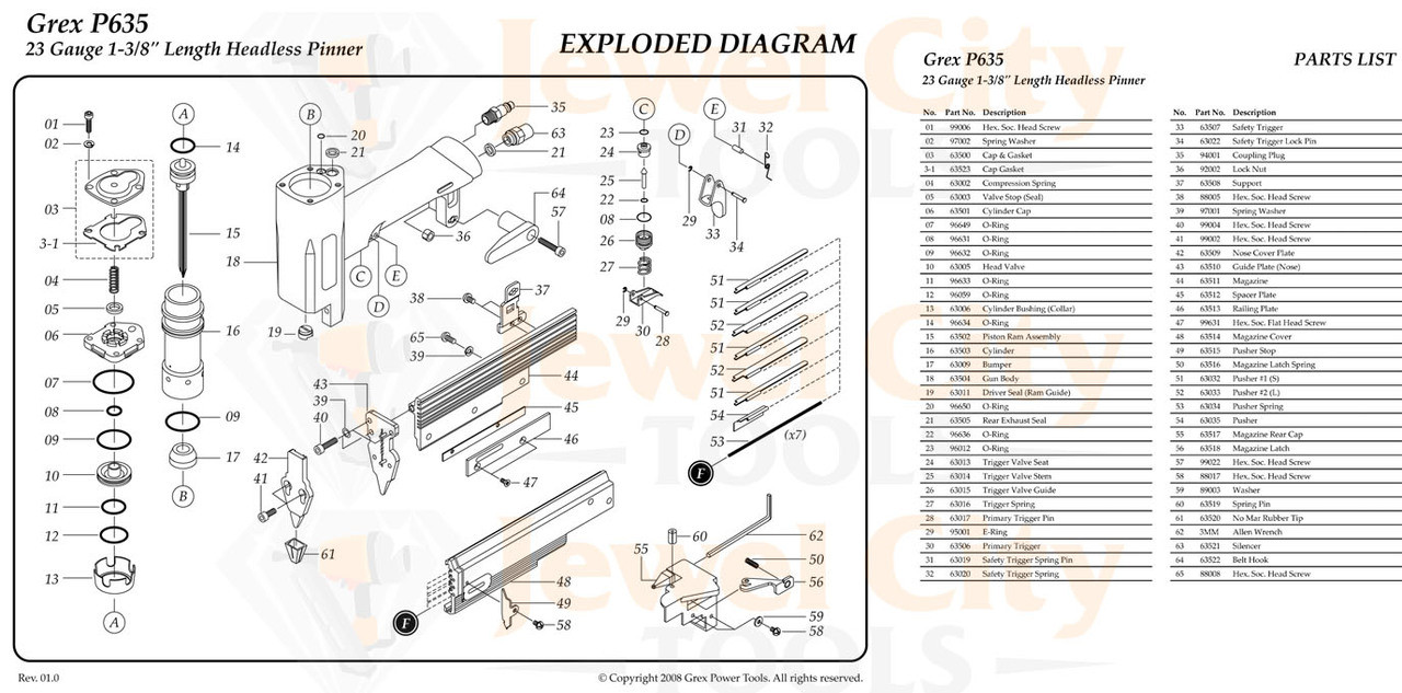 Grex P635 Pinner Nailer OEM Original Trigger Valve Kit--Part # P635KC