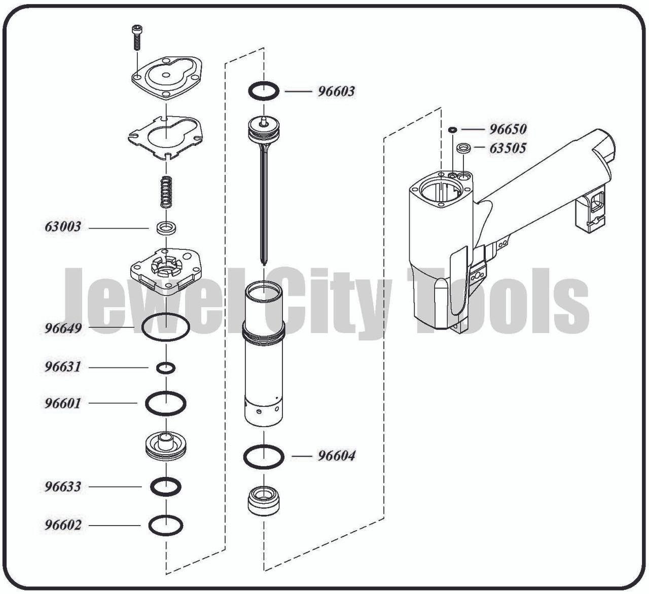 Grex P645 P645L P650 P650L Pinner Nailer OEM Original O-Ring Kit--Part # P645KD P650KD (660292130085)