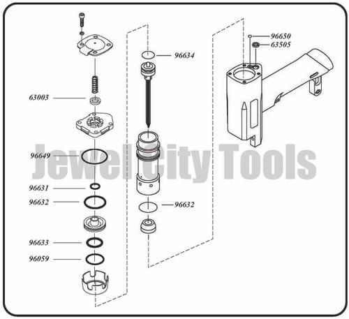 Grex Replacement O-Ring Kit for P635 Pinner - P635KD
