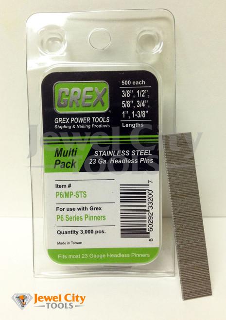 Grex 23 Gauge Stainless Steel Multi Pack Headless Pins P6/MP-STS
