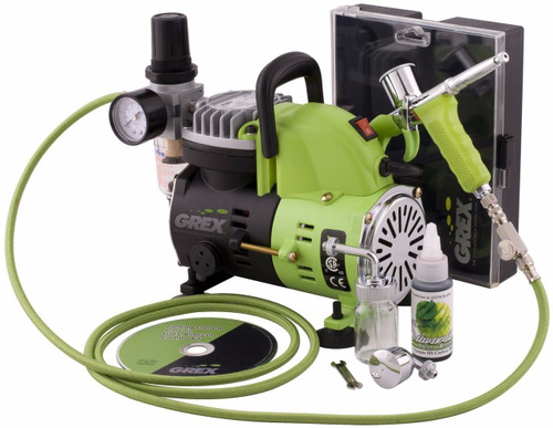 Grex GCK01 Airbrush Combo Kit with Genesis.XT Airbrush AC1810-A Compressor (660292120314)