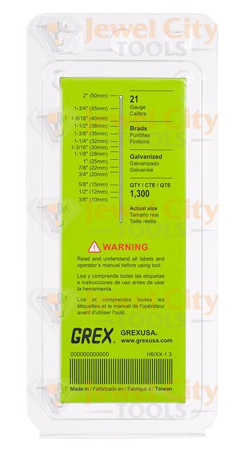 """Grex 21 Gauge (21Ga) Galvanized 1 1/8"""" 28mm Brads Brad Nails H8/28-1.3"""