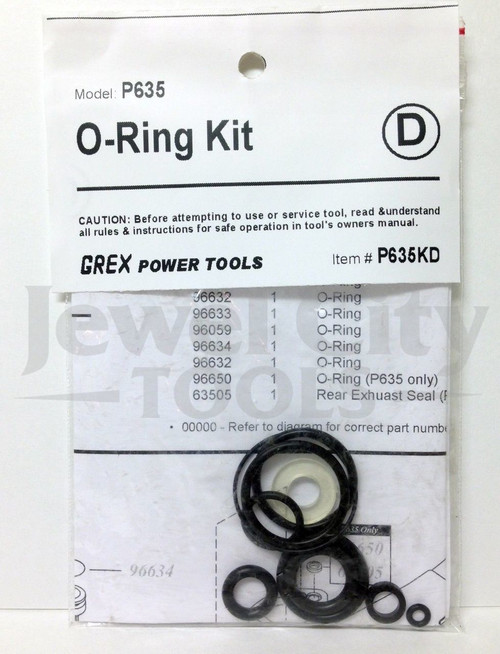 Grex P635 Pinner Nailer OEM Original O-Ring Kit--Part # P635KD (660292130078)