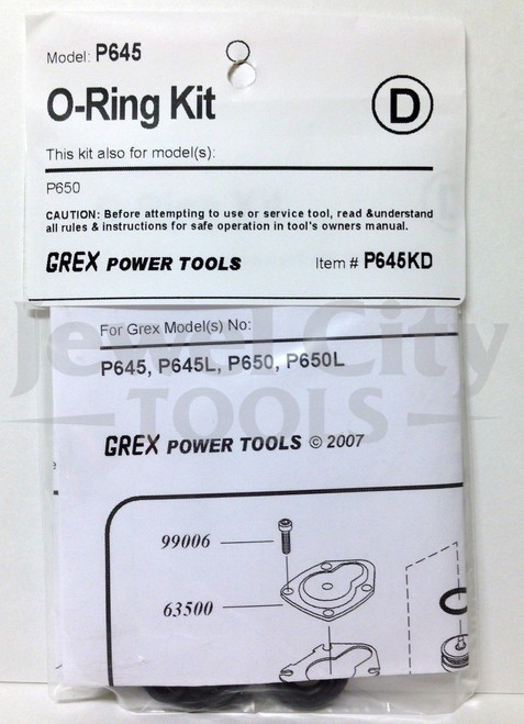 Grex P645 P645L P650 P650L Pinner Nailer OEM Original O-Ring Kit--Part # P645KD P650KD (660292130085)
