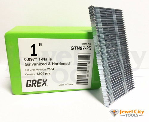 "Grex 0.097"" 1"" T-Nails for Concrete Galvanized & Heat Treated GTN97-25 (Qty: 2,000)"