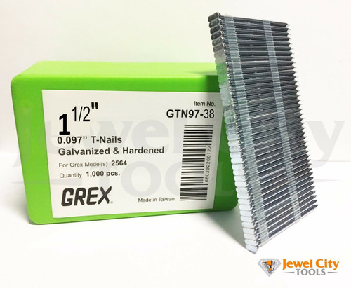 "Grex 0.097"" 1-1/2"" T-Nails for Concrete Galvanized & Heat Treated GTN97-38 (Qty: 1,000) Bostitch MIII812CNCT and Grex 2564"