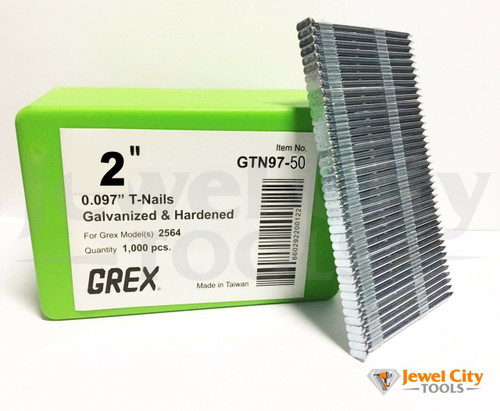 "Grex 0.097"" 2"" T-Nails for Concrete Galvanized & Heat Treated GTN97-50 (Qty: 1,000)  BOSTITCH MIII812CNCT AND GREX 2564"