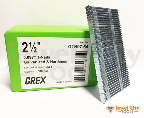 "Grex 0.097"" 2-1/2"" T-Nails for Concrete Galvanized & Heat Treated GTN97-64 (Qty: 1,000) BOSTITCH MIII812CNCT AND GREX 2564"