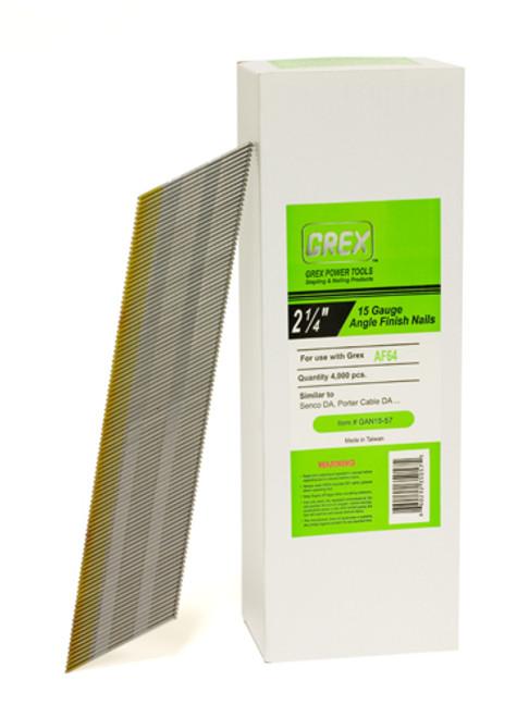 """Grex 34° Degree 15 Gauge (15 Ga.) 2-1/4"""" Inch Angle Finish Nails (DA23) GAN15-57 4,000 per box (660292350575"""