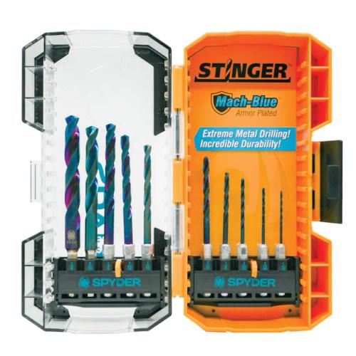 19017 Spyder Stinger 10 pc Drill Bit Set Mach-Blue High Speed Steel HSS 884835008376