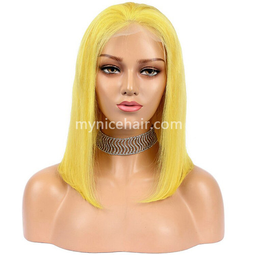 Lace Front Bob Wig Pre-plucked Yellow 180% density Virgin Human Hair