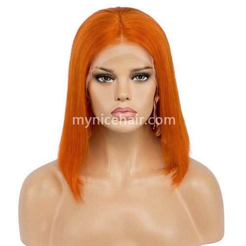 Lace Front Bob Wig Pre-plucked Orange Red 180% density Virgin Human Hair