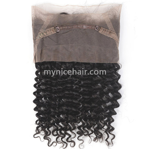 360 Lace Frontal Preplucked Deep Wave Unprocessed  Virgin Human Hair