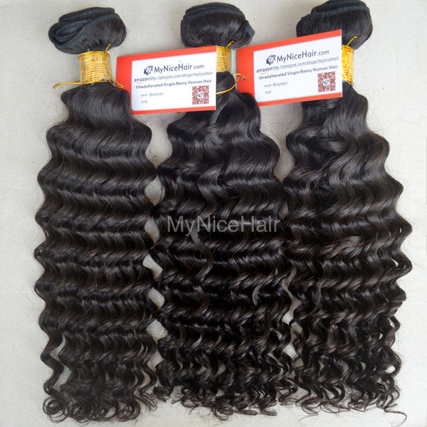 High Quality 3 Bundles Virgin Brazilian Human Hair Deep Curly Weave