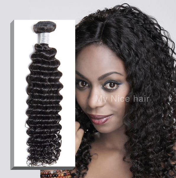 High Quality 1 Bundle  Virgin Unprocessed Peruvian Human Hair Deep Curly Weave