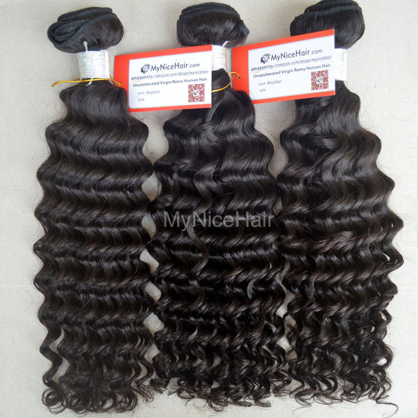 High Quality 3 Bundles Virgin Peruvian Human Hair Deep Curly Weave