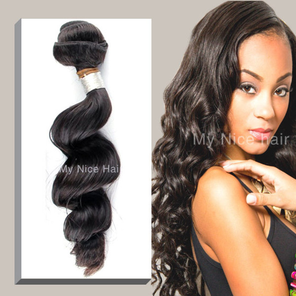 High Quality 1 Bundle  Virgin Peruvian Human Hair Loose Curly Weave