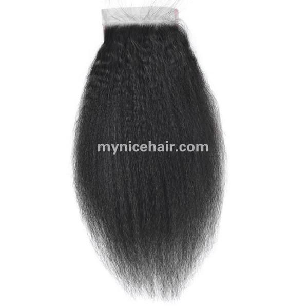 4X4 Pre-plucked Top Closure Kinky Straight Remy Virgin Human Hair