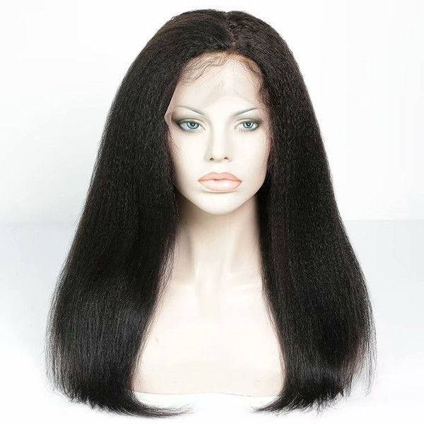 Lace Front Wig 150% Density Pre-plucked Remy Virgin Human Hair Kinky Straight