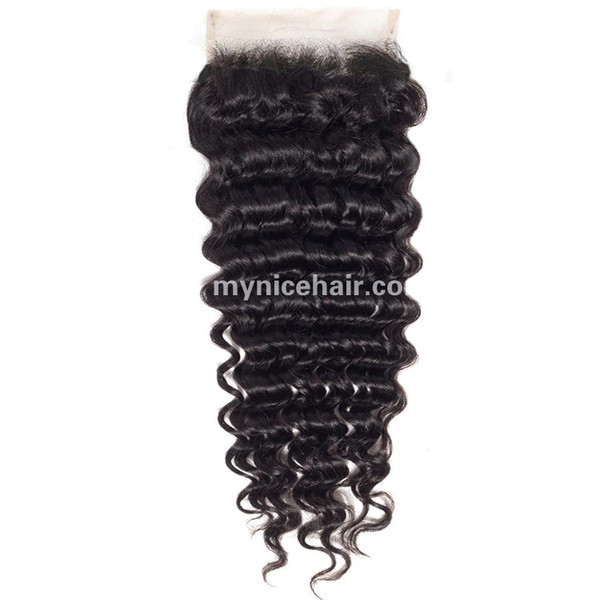 4X4 Pre-plucked Top Closure Deep Wave Unprocessed Virgin Human Hair