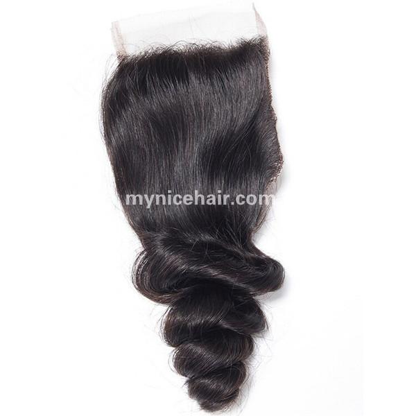 4X4 Pre-plucked Top Closure Loose Curly Virgin Human Hair