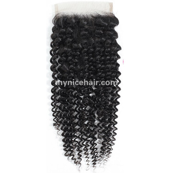 Transparent Lace 4X4 Pre-plucked Top Closure Kinky Curly Virgin Human Hair