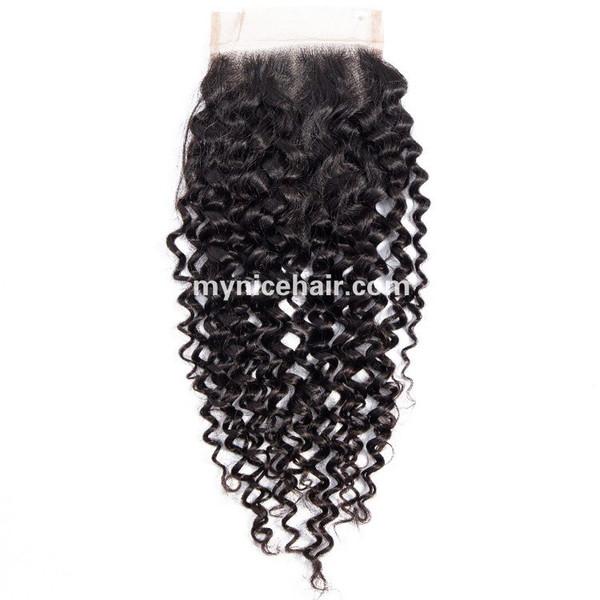 4X4 Pre-plucked Top Closure Curly Unprocessed Virgin Human Hair