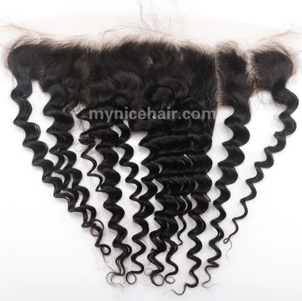 13x4 Pre-plucked Frontal Deep Wave Unprocessed Virgin Human Hair