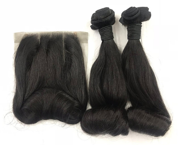 MyNiceHair Top Quality Super Double Drawn Funmi Bouncy Egg Curl Hair Bundles & 4*4 Lace closure
