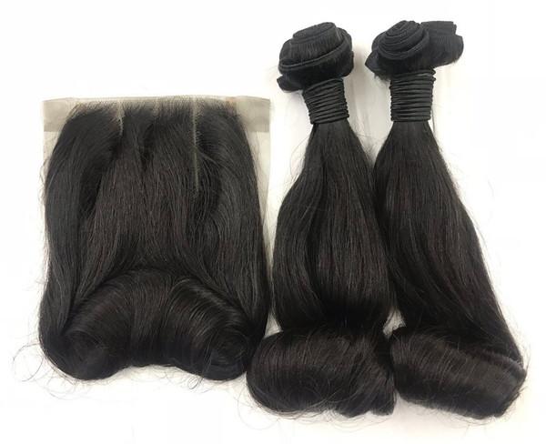 MyNiceHair Top Quality Super Double Drawn Funmi Bouncy Egg Curl Hair Bundles & 4*4 Lace closure