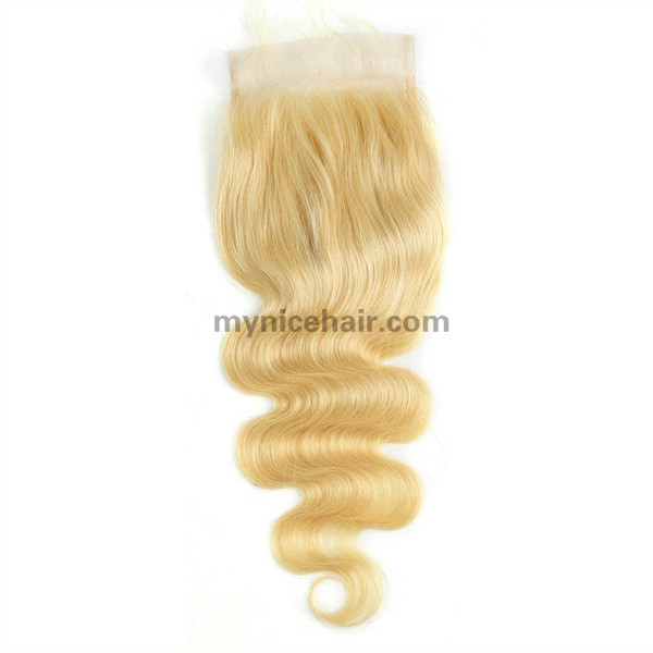 4X4 Pre-plucked Top Quality Blond 613#  Body Wave Closure