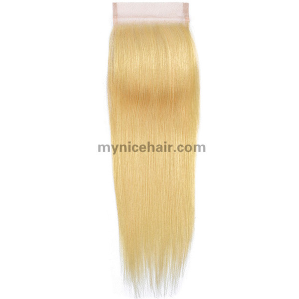 Transparent Lace 4X4 Pre-plucked Top Quality Blond 613# Straight Closure