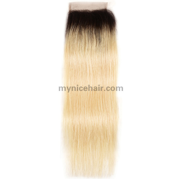 4X4 Pre-plucked Top Quality Ombre 1b/613#  Straight  Closure