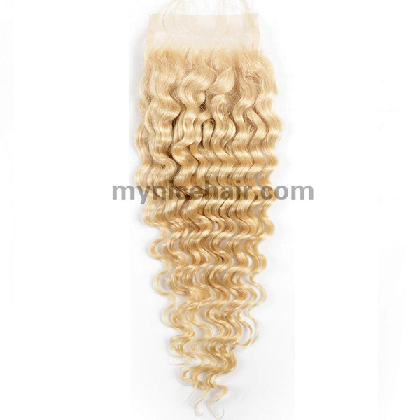 4X4 Pre-plucked Top Quality Blond 613# Deep Wave Closure