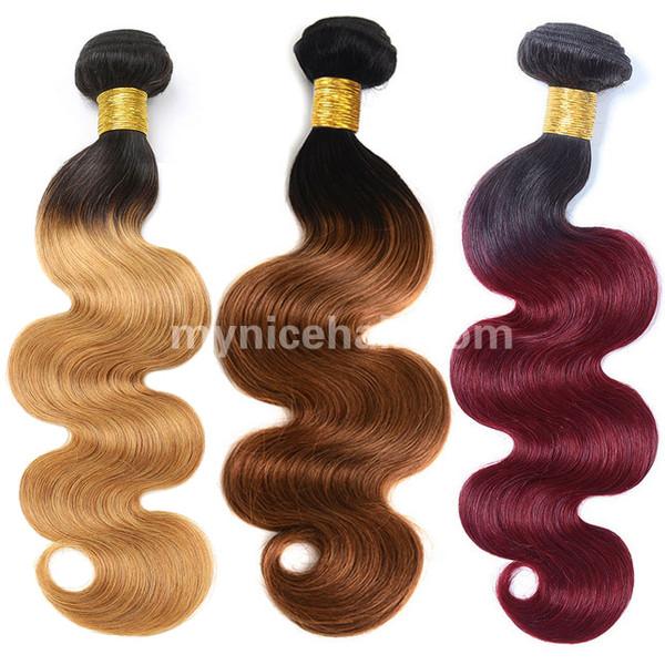 1 Bundle High Quality Ombre 1b/27 1b/30 1b/99j Body WavePure Human Hair