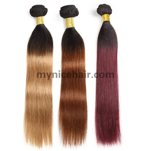 1 Bundle High Quality Ombre 1b/27 1b/30 1b/99j Straight Pure Human Hair