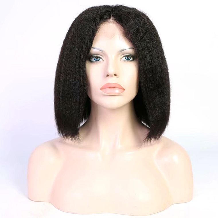 Lace Front Bob Wig 180% density Pre-plucked Virgin Human Hair kinky Straight