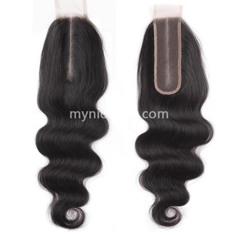 2X6 Kim K Pre-plucked Lace Closure Body Wave Virgin Human Hair