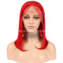 Lace Front Bob Wig Pre-plucked Red 180% density Virgin Human Hair