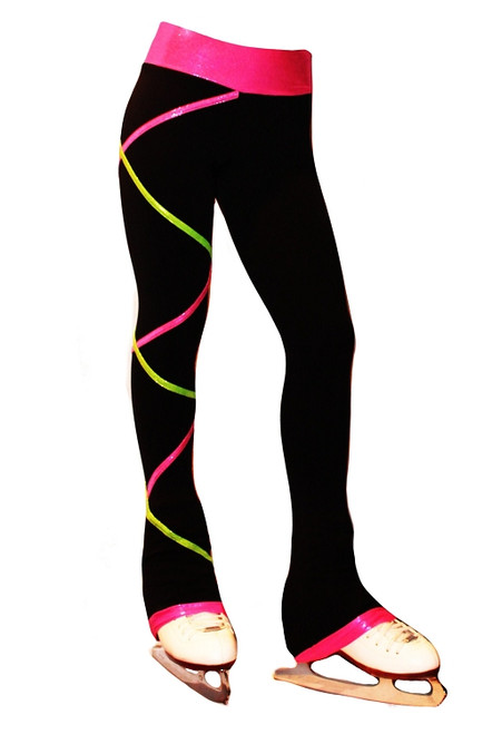 Criss Cross Poly Spandex Ice Skating Pants Pink/Lime XP111