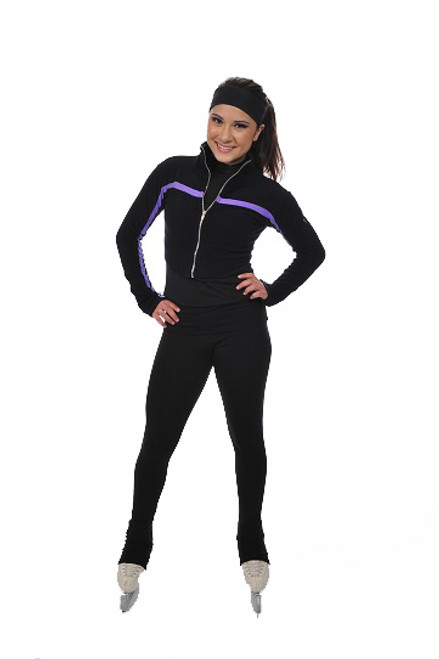 Savvy Skater Figure Skating Outfit - Shorty Jacket w/Stripe and Back Zip Cuff Pants