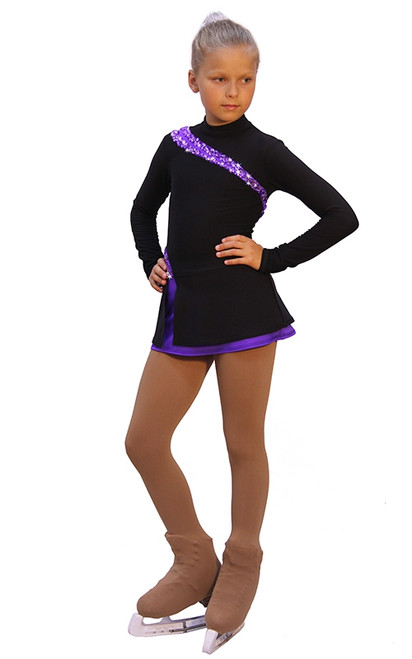 IceDress Figure Skating Dress-Thermal -  Lasso(Black with Purple)